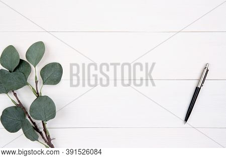 Leaf And Pen On Wooden Table, Composition With Top View, Branch And Leaves On Wood Desk With Copy Sp
