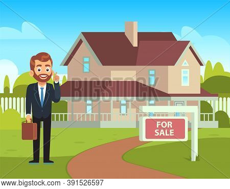 House For Sale. Realtor Shows Residential Building In Countryside, Smiling Man Front Townhouse Summe