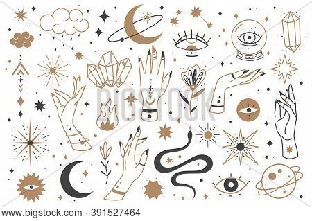 Mystic Line Elements. Magic Contour Icons Hand Drawn Doodle Minimalistic Witch Fairy Golden Symbol A