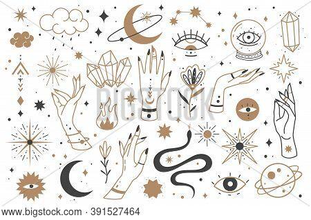 Mystic Line Elements. Magic Contour Icons Hand Drawn Doodle Minimalistic Witch Fairy Golden Symbol A