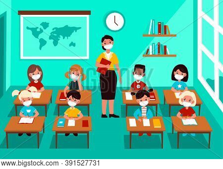 Kids In Mask In Classroom. Social Distancing Multicultural Children And Teacher With Medical Masks I