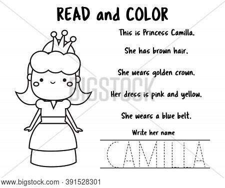 Read And Color Page For Kids. Educational Game For Children. Reading Comprehension Worksheet For Pre