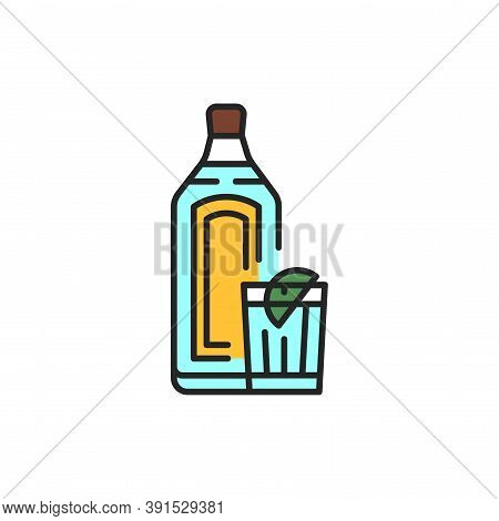 Gin Bottle And Glass Color Line Icon. Alcoholic Beverages.