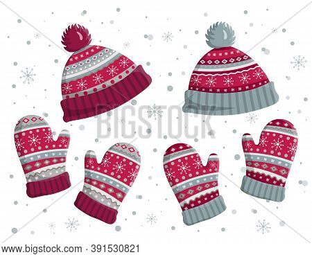Set Of Warm Knitted Hats And Mittens. Cute Winter Accessories Cap And Gloves Isolated On White Backg