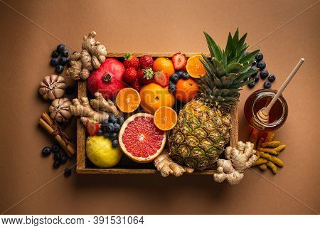 Healthy Nutrition During Flu And Cold Season. Selection Of Fresh Fruit With Vitamin C And Natural In