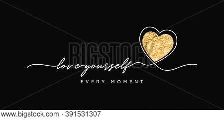 T-shirt Design With Glitter Heart. Slogan Love Yourself, Typography Graphics For Tee Shirt With Glit