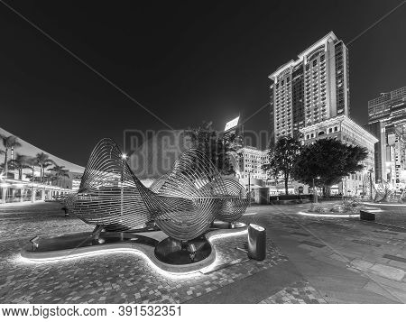 Hong Kong, China - December 03, 2019 : Night Scenery Of Public Park And Skyline Of Downtown District