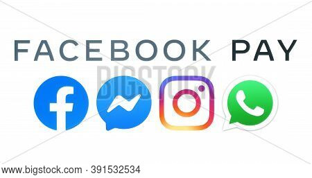 Kiev, Ukraine - August 25, 2020: Facebook Pay Logo And Social Networking Icons Printed On Paper. Fac