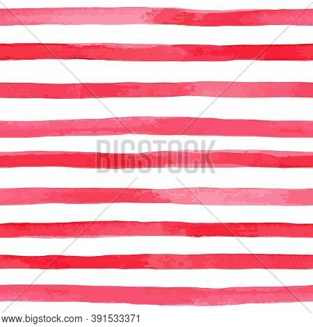 Beautiful Seamless Pattern With Horizontal Red Watercolor Stripes. Hand Painted Brush Strokes, Strip