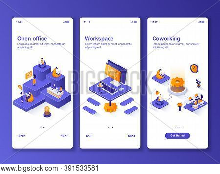 Open Office Isometric Design Kit. Coworking Workspace And Partnership Templates For Mobile App. Busi
