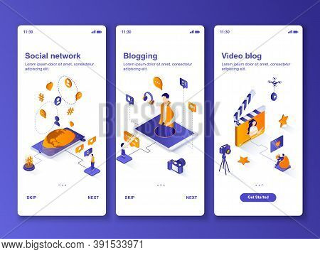 Social Network Content Production Isometric Gui Design Kit. Blogging And Vlogging Templates For Mobi