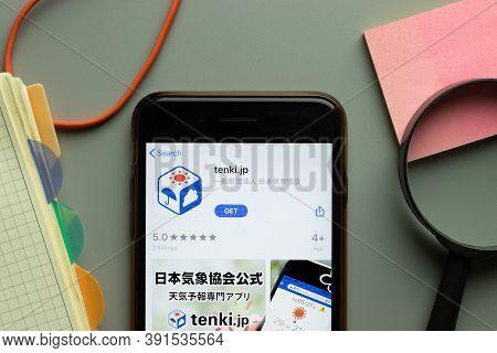New York, Usa - 26 October 2020: Tenki.jp Tenki Mobile App Logo On Phone Screen Close Up, Illustrati