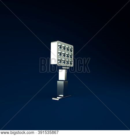 Silver Bright Stadium Lights Icon Isolated On Blue Background. Spotlight On A Football Field. Floodl