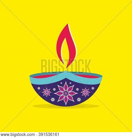 Diwali Diya Or Lamp - Vector On Yellow Background   Happy Diwali Banner