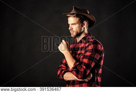 Cowboy Life Came To Be Highly Romanticized. Man Unshaven Cowboy Black Background. Archetypal Image O