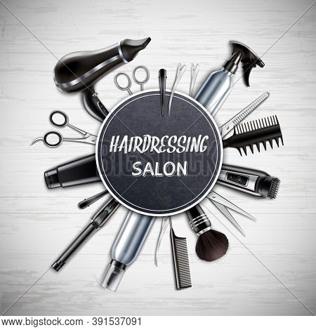 Hairdressing Salon Barber Shop Tools Realistic Round Composition With Scissors Hairdryer Trimmer Mon