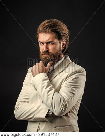 Esthete Detail. He Is In Shirt. Stylish Successful Man In Suit Posing. Business Man Wear Suit. Offic