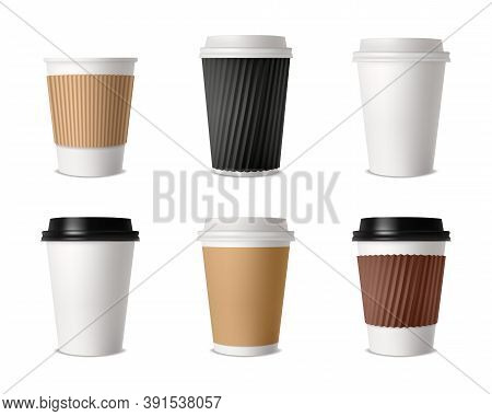 Takeout Fast Food Plastic Package Set For Drink Coffee And Tea With Cover Isolated Vector Illustrati