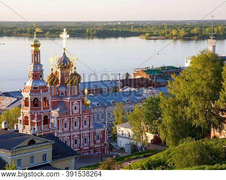 Spring Sunset And Stroganov Church With Mosaic Domes In Nizhny Novgorod
