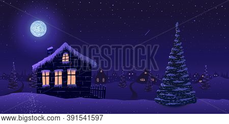 Vector Illustration. House In Snowy Village With Pine Trees At Starry Night