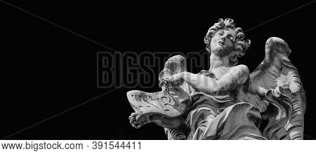 Angel In Ecstasy Statue Holding Jesus Inri Sign. A 17th Century Baroque Masterpiece At The Top Of Sa