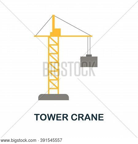Tower Crane Icon. Simple Element From Construction Collection. Creative Tower Crane Icon For Web Des
