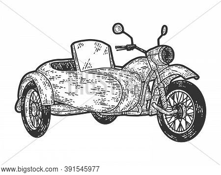Motorcycle With A Sidecar. Engraving Raster Illustration. Sketch Scratch Board Imitation.