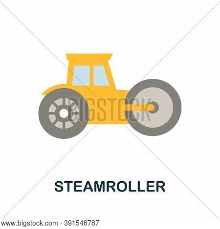 Steamroller Icon. Simple Element From Construction Collection. Creative Steamroller Icon For Web Des