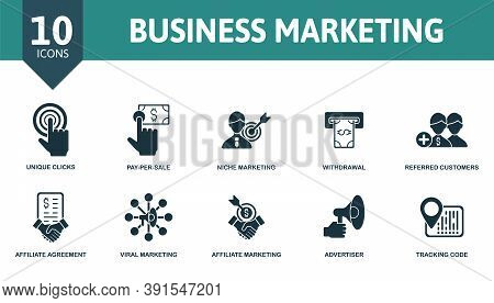 Business Marketing Icon Set. Collection Contain Tracking, Code, Advertiser, Viral, Marketing, Affili