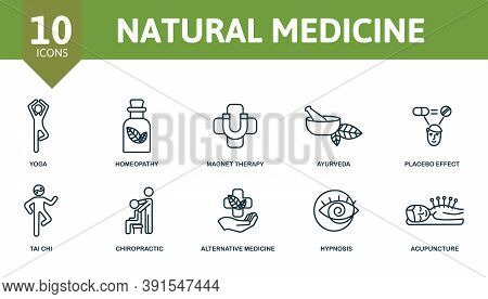 Natural Medicine Icon Set. Collection Contain Magnet, Therapy, Yoga, Placebo, Effect, Ayurveda, Acup