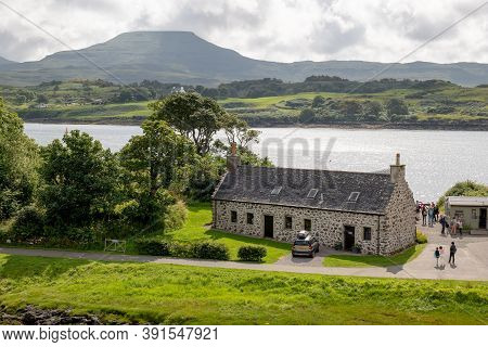 Dunvegan, Scotland - August 5, 2019: Dunvegan Castle Laundry Cottage And Office For Seals Boat Trips
