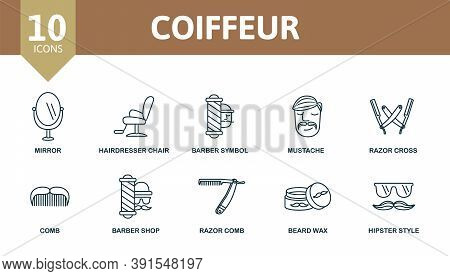 Coiffeur Icon Set. Collection Contain Mirror, Soap, Beard Wax, Barber Shop And Over Icons. Coiffeur