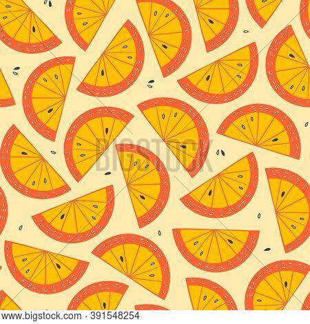 Orange Slice Seamless Pattern. Citrus Fruit Yellow And Orange Background In Cartoon Style. Juicy Tas