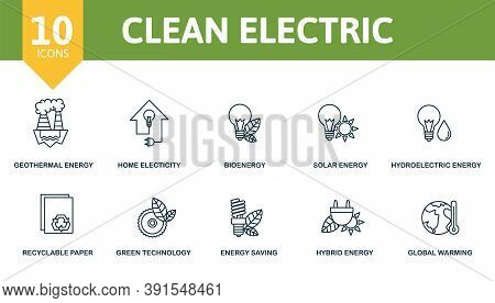 Clean Electric Icon Set. Collection Contain Limitless Energy, Nuclear Energy, Hybrid Energy, Global