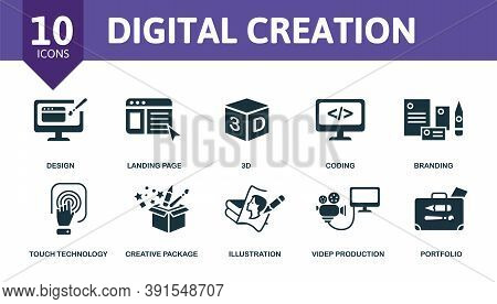 Digital Creation Icon Set. Collection Contain Mobile App, Landing Page, Branding, Coding, 3d And Ove
