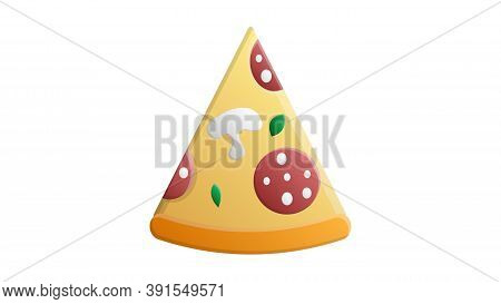 Slice Of Pizza On A White Background, Vector Illustration. Pizza Stuffed With Sausage, Bacon, Mushro