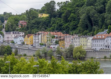 Waterside Impression Of Passau, A Town In Lower Bavaria In Germany At Summer Time