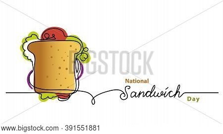 National Sandwich Day Line Vector Banner, Background, Poster. One Continuous Line Drawing With Lette