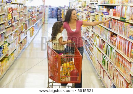 Woman And Child With Trolley In Supermarket