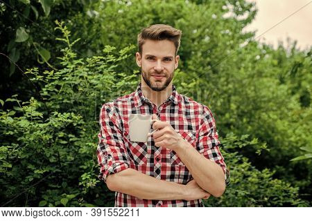 Good Morning. Fresh Inspiration And Energetic Beverage. Handsome Bearded Guy Drinking Tea Outdoor. H