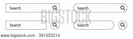 Search Bar Box Set On White Background. Isolated Search Field With Loupe Icon. Blank Template For We