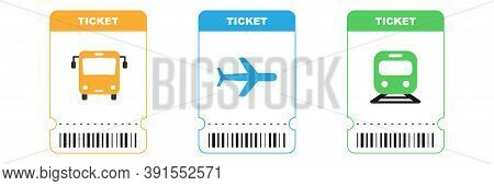 Travel Tickets For Bus, Plane And Train. Isolated Subway And Railway Pass Card. Airplane Ticket With