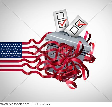 American Election Challenge And Vote Problems And Us Voting Concept As United States Ballots At A Po