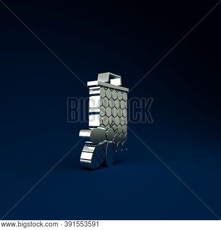 Silver Bee And Honeycomb Icon Isolated On Blue Background. Honey Cells. Sweet Natural Food. Honeybee