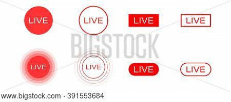 Live Stream Icons Set. Isolated Broadcast Symbol On White Background. Stream Symbol In Red. Online V