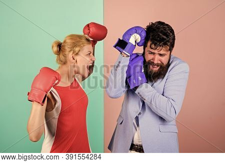 Couple In Love Competing Boxing. Conflict Concept. Family Life. Complicated Relationships. Couple Ro