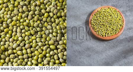 Vigna Radiata - Organic Mung Beans. Text Space