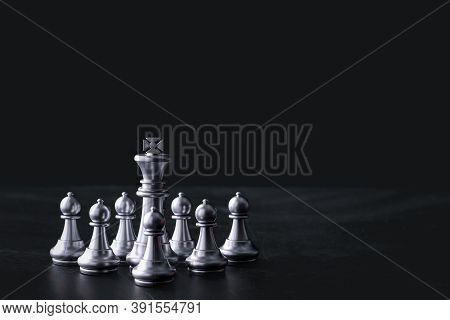Business Chess Board Game Of Business Strategy And Tactic On Retro Wooden Table, Idea For Management
