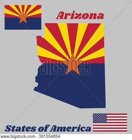 Map Outline And Flag Of Arizona, Red And Weld-yellow On The Top Half, With Star And The Rest Of The
