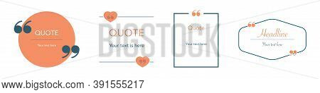 Quotation Box Template. Isolated Simple Quote Mockup In Orange. Bubble Text Frame On White Backgroun
